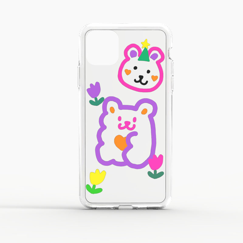 Cute Graffiti Clear TPU Phone Case - Bear