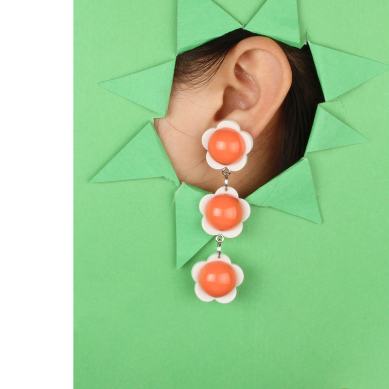 3D Egg Flowers Stacked Link Drop Earrings - AHED Project