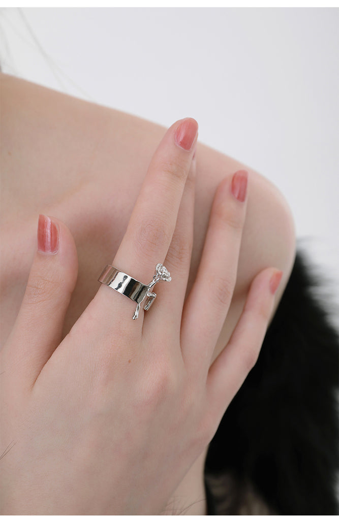 Plated Platinum Sculpted Rose Wide Ring