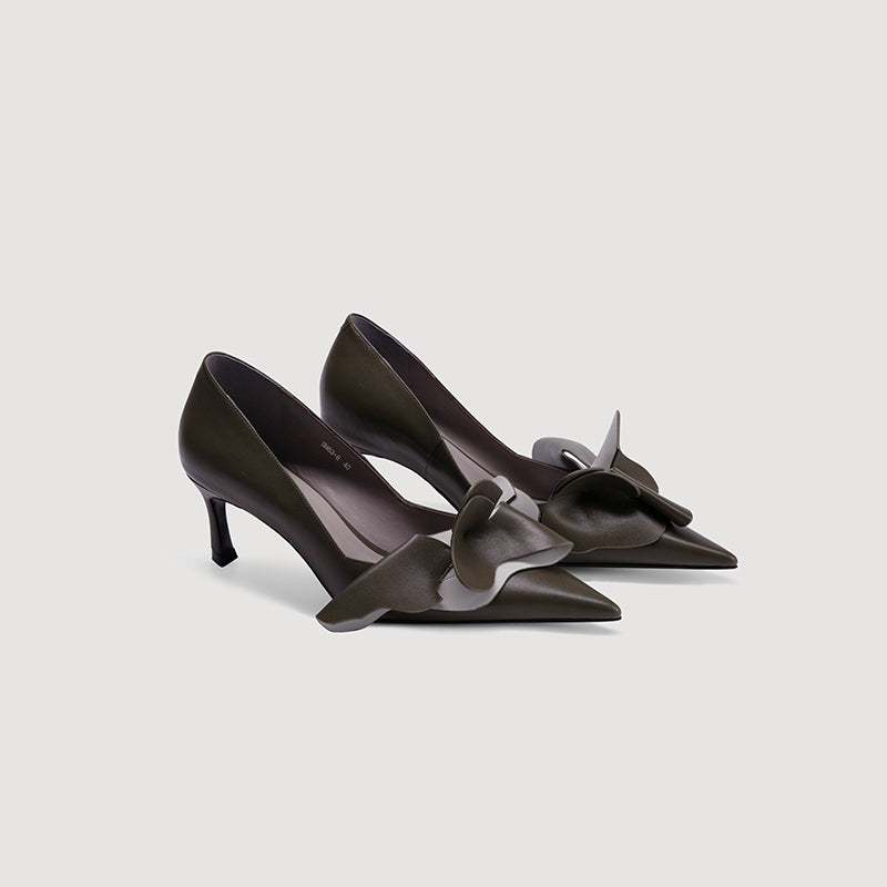 Endless Joy Pointed Toe Ruffled Pumps - 2 Shades