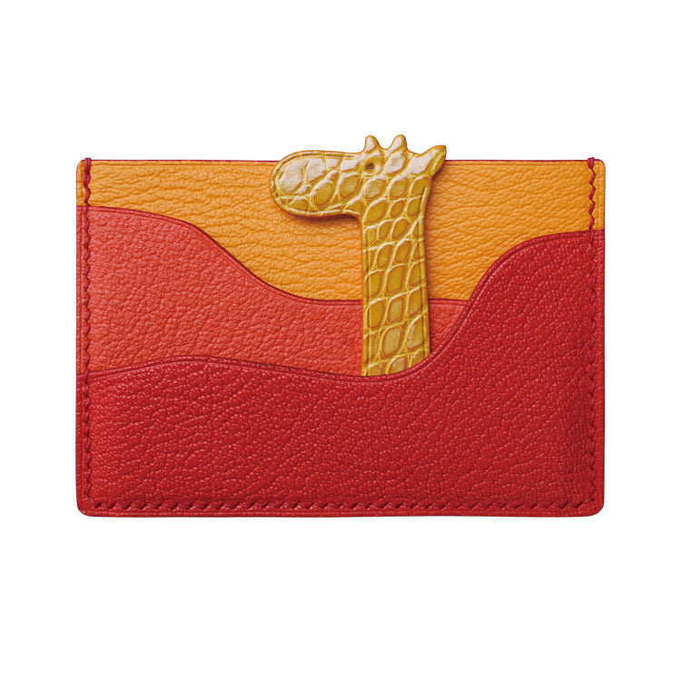 Giraffe Card Holder- Chevre Mysore & Exotic Leather