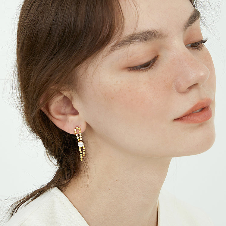 Natural Pearl Chic 18K Gold Plated Sequins Earrings