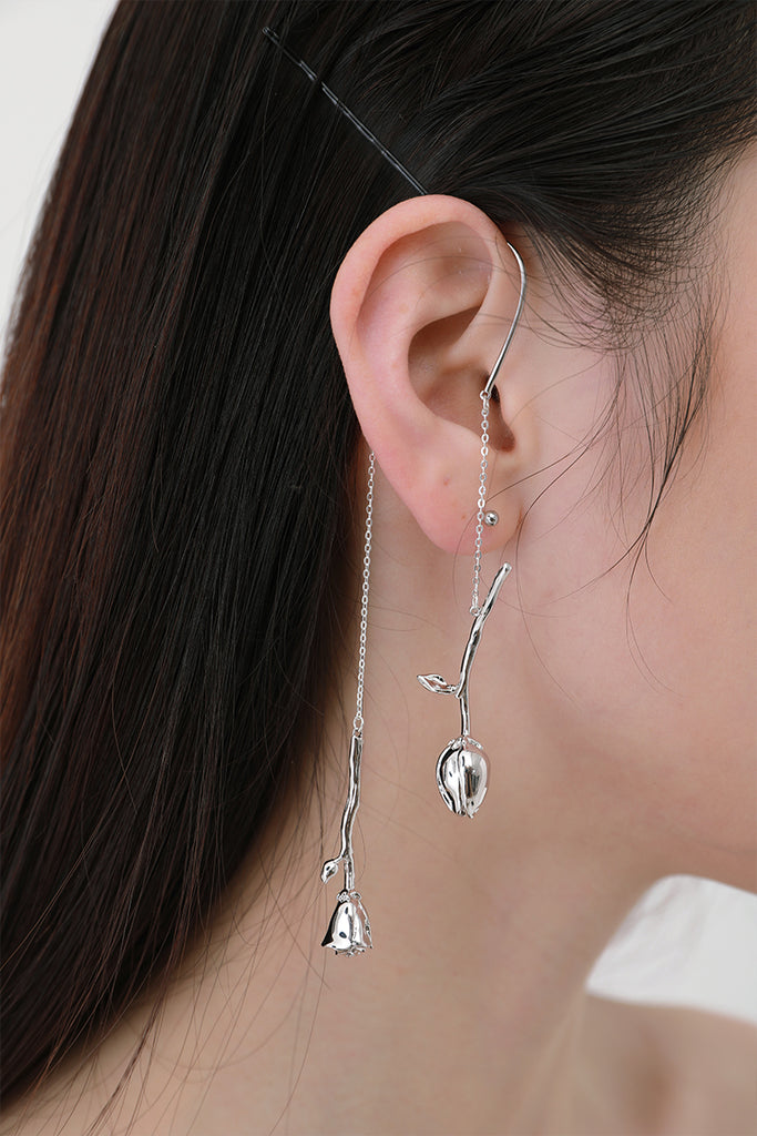 High-Low Sculpted Rose Drop Ear Cuff(s)