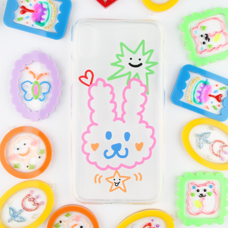 Cute Graffiti Clear TPU Phone Case - Bunny
