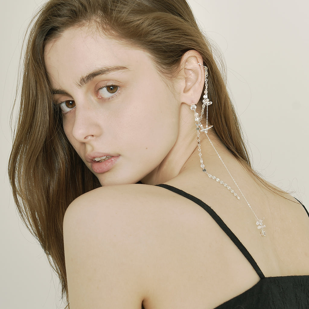 Designer Ear Cuff Cartilage Double Chain Crystal Earrings - AHED Project