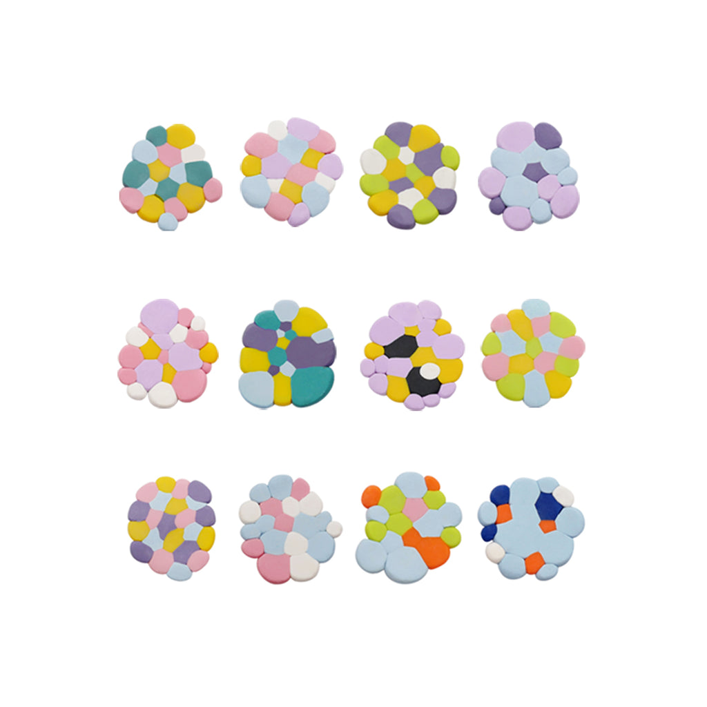 Blended Clay Irregular Disc Stud Earrings/Clips