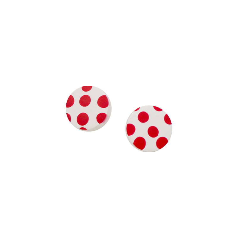 Lovely Polka Disc Stud Earrings (Quick to ship)