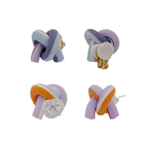Blended Clay Twist Knot Stud Earrings/Clips