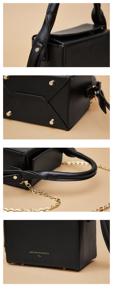 Extended Top Handle Chain Strap Crossbody Box Bag - 3 Shades - AHED Project