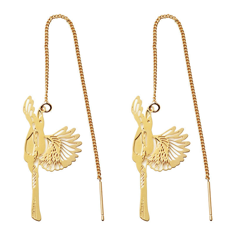18K Gold Plated Magpie Drop Threader Earrings