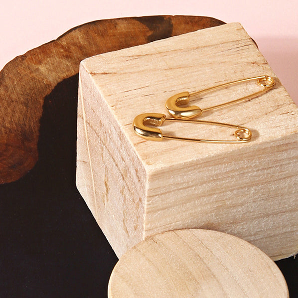 18K Gold Plated Safety Pin Hoop Earrings - AHED Project