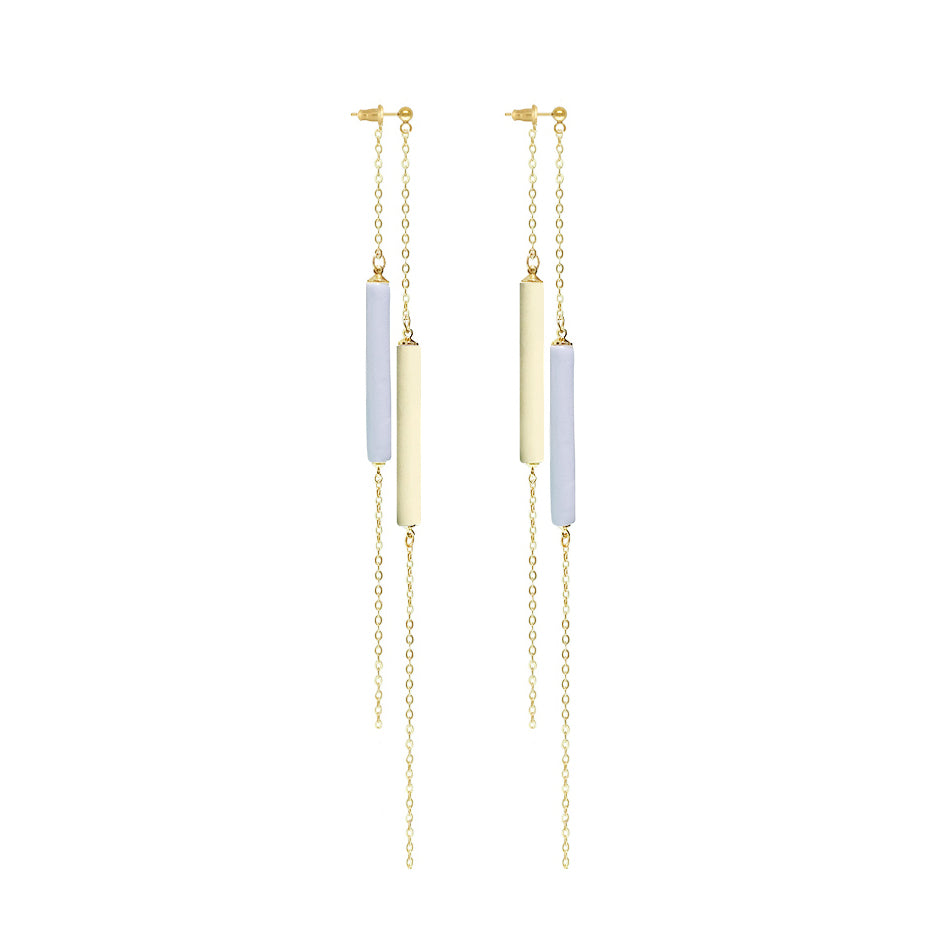 14K Gold Filled High-Low Clay Tassel Drop Earrings