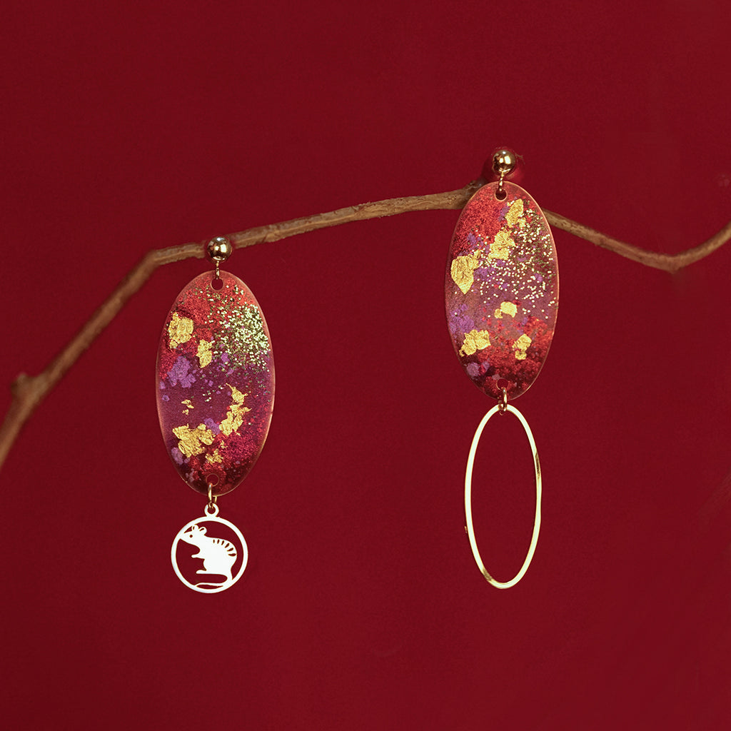 Year Of The Mouse Collection - Asymmetrical Hoop Drop Earrings