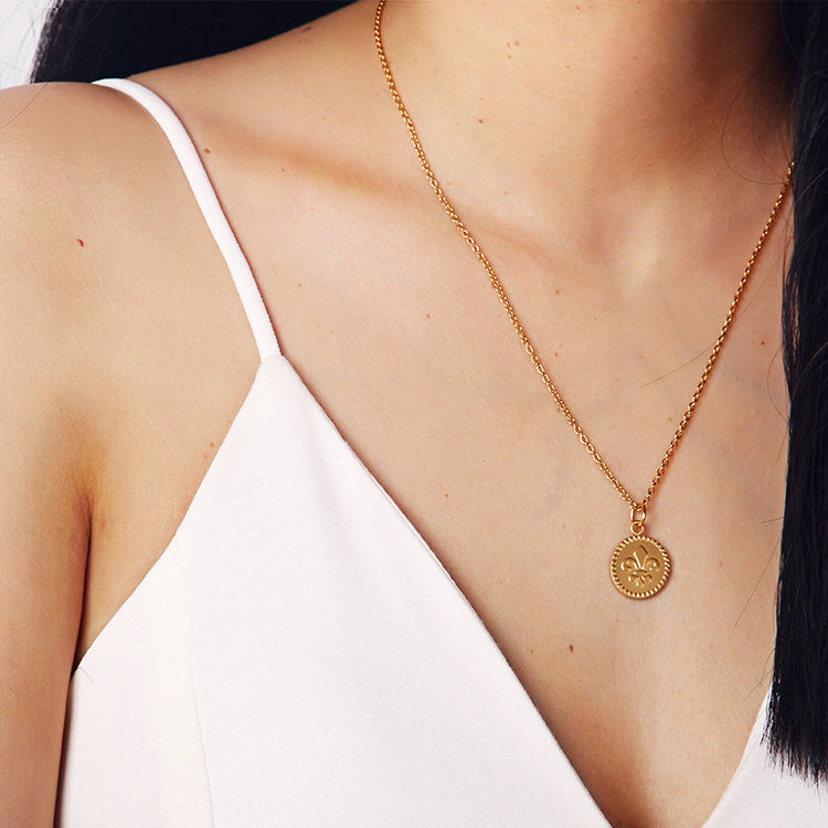 18K Gold Plated Floral Baroque Coin Necklace - AHED Project