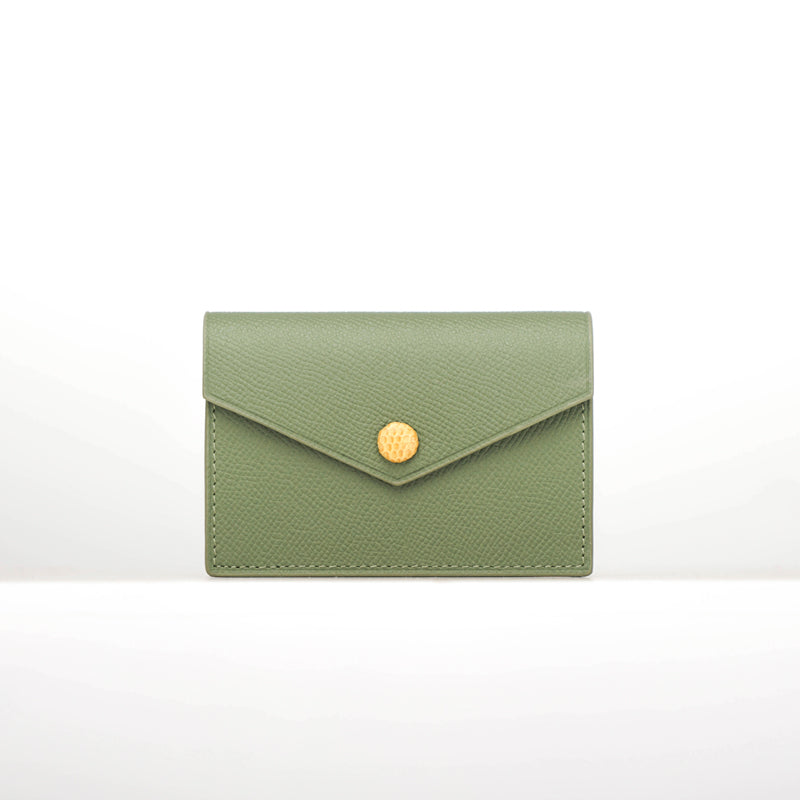Timeless Handmade Card Holder - Luxurious Epsom Leather In Green