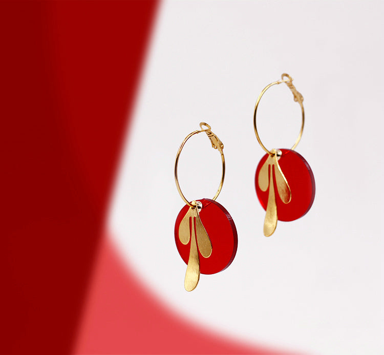 Vintage-Inspired Mix&Match Hoop Earrings - Red & Gold