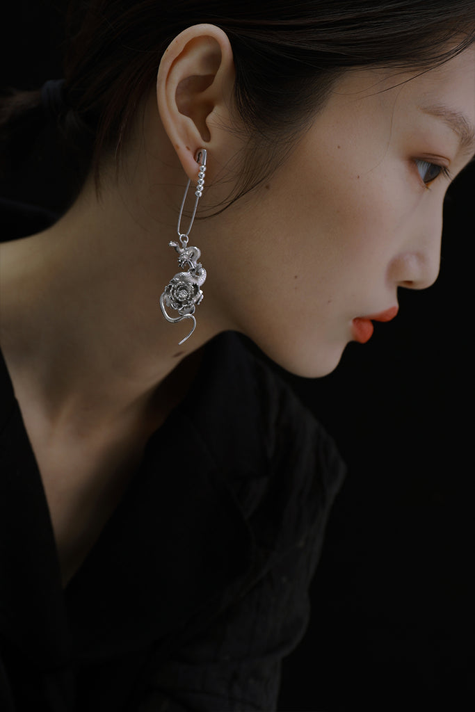 The Magnificent Peony Series - Snake On Peony Drop Earring