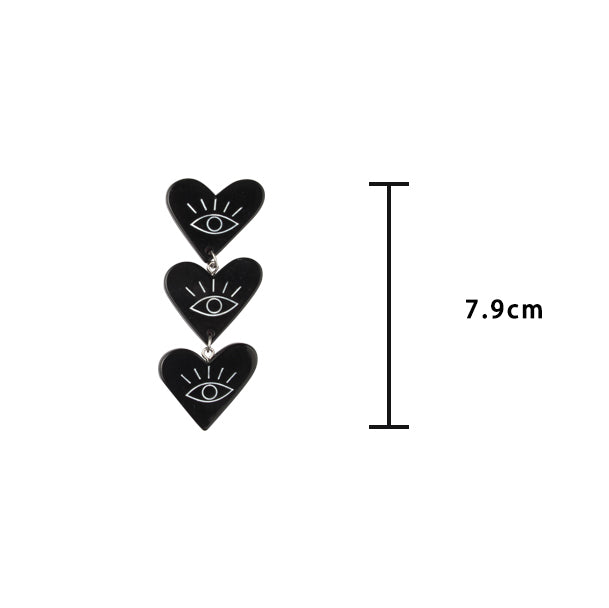 Retro Grunge Cascading Hearts Drop Earrings