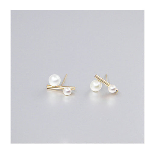 Aqua Luster Series - 14K Gold Filled Dual Pearl Stud Earrings - AHED Project