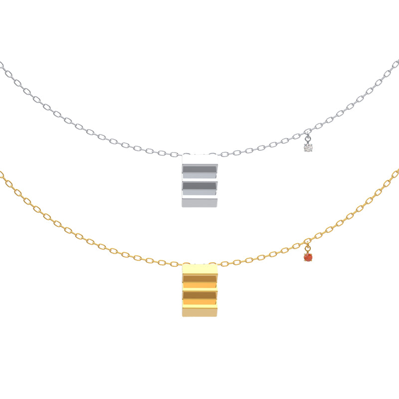 Architecture Series - Thick Gold Plated Staircase Necklace - AHED Project