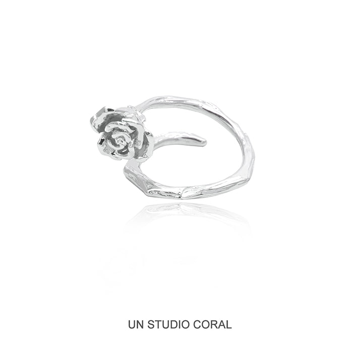 Sculpted Rose & Vine Open Ring