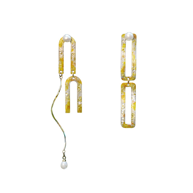 Sweet Osmanthus Blossom Series - Asymmetrical Artsy Drop Earrings