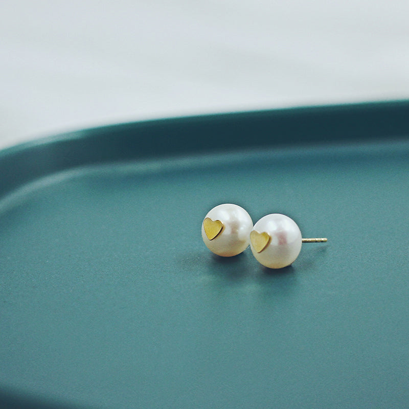 14K Gold Filled Heart Freshwater Pearl Studs
