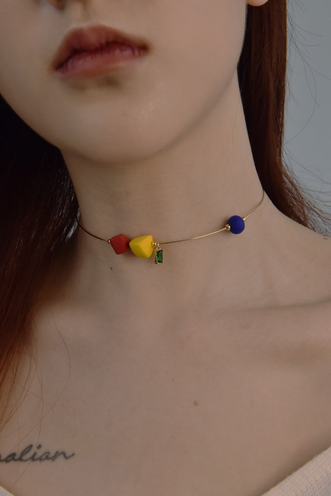 Art & Color Series - Clay & Zircon Beads Wire Necklace - AHED Project