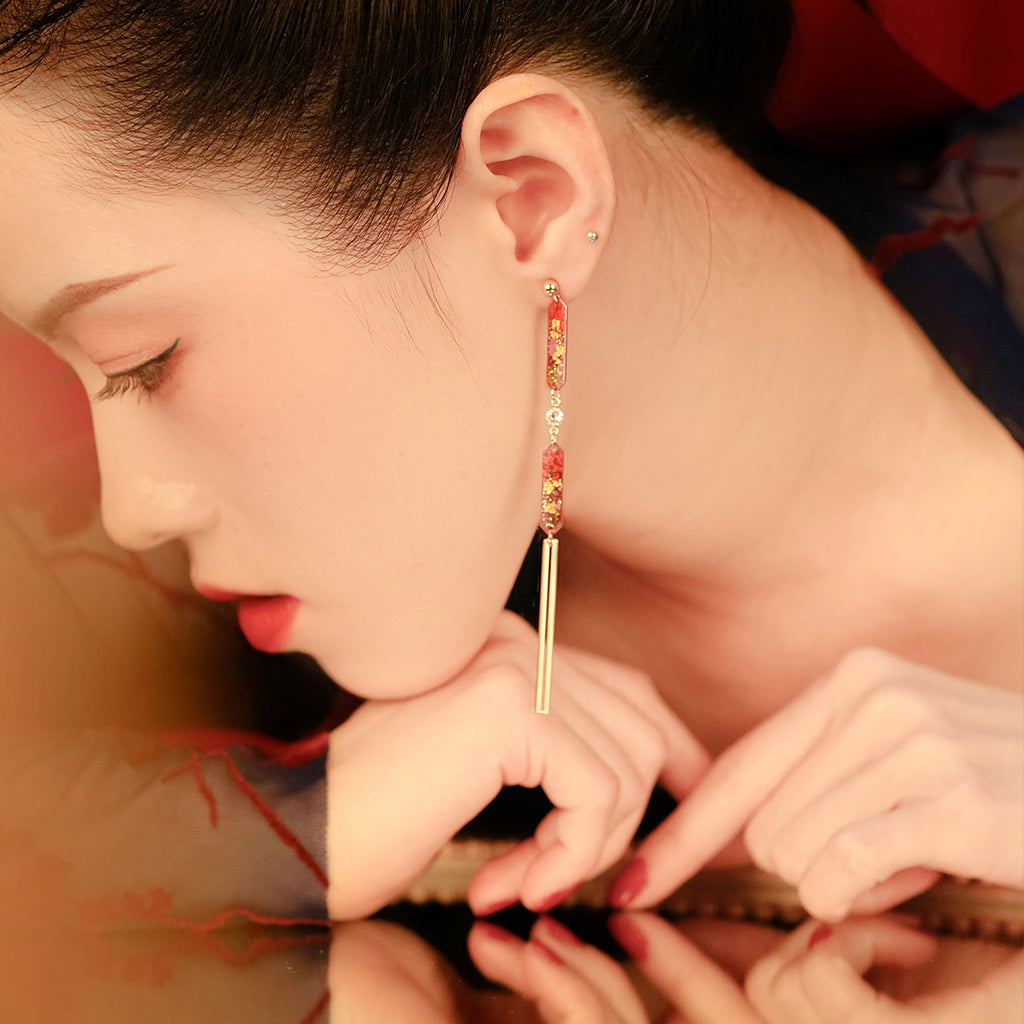 Year Of The Mouse Collection - Asymmetrical Drop Zircon Earrings
