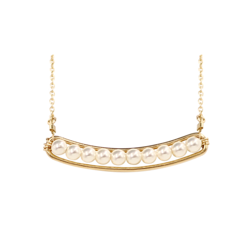 Hera Curved Line Pearl Dainty Necklace