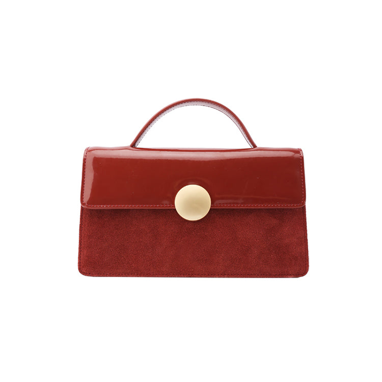 Wine Red Vintage Round Button Structured Crossbody Bag