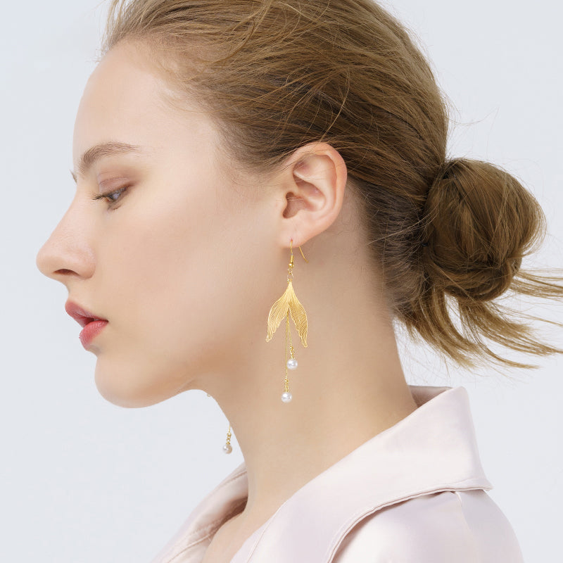 18K Gold Plated Fish Tail Drop Earrings