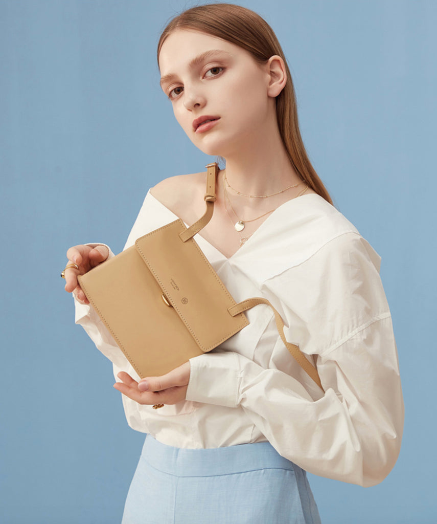 Classic Flap Small Crossbody Bag - Birch White/Apricot