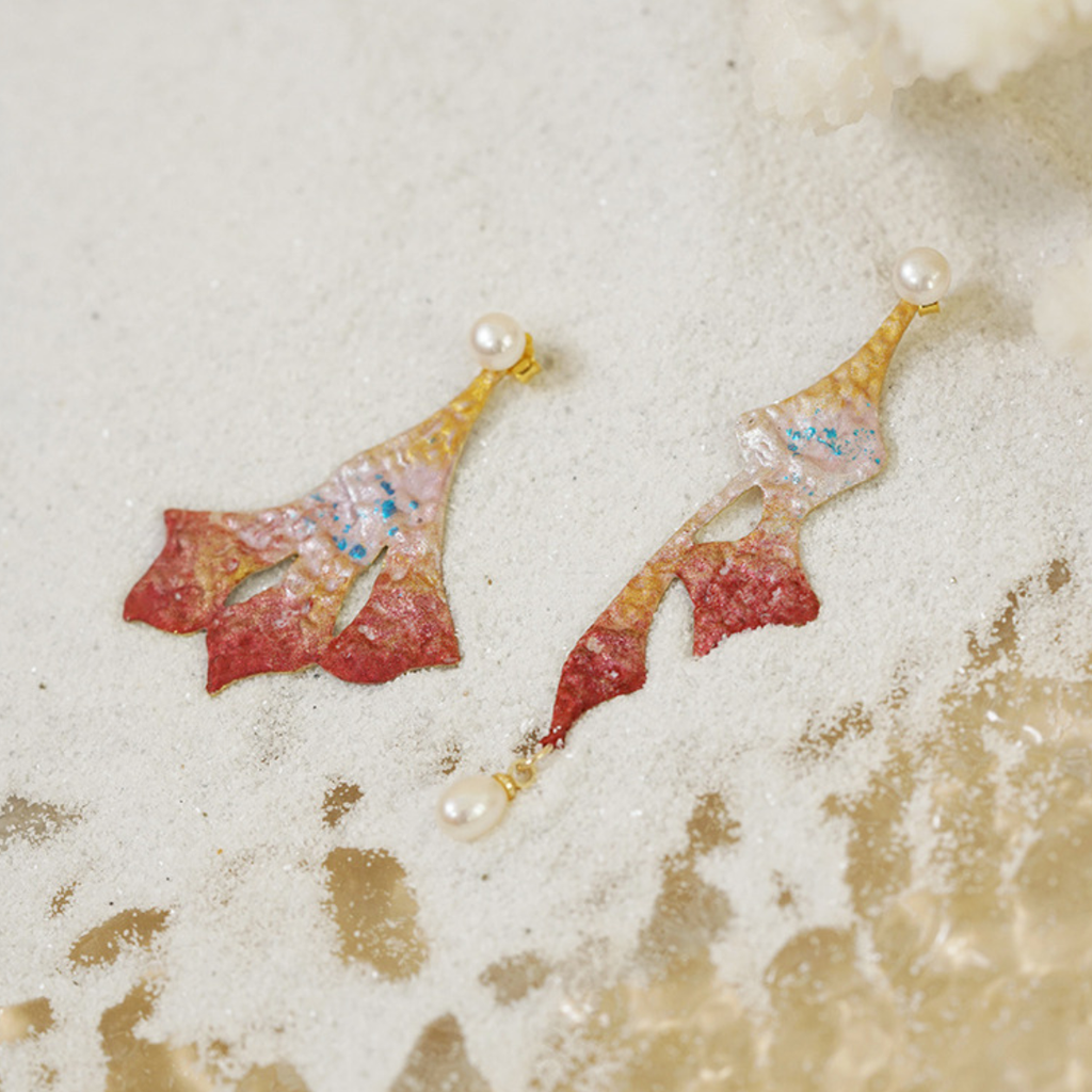 Ocean Glow Series - Asymmetrical 14K Gold Vermeil Coral Earrings