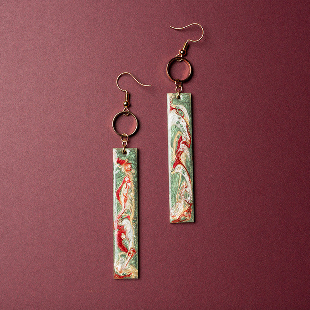 Mogao Cave Murals Inspired Drop Bar Earrings
