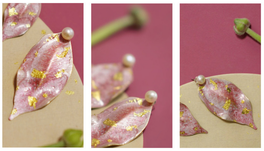 Delicate Hand-Painted Pink & Gold Peach Leaf Stud Earrings - AHED Project