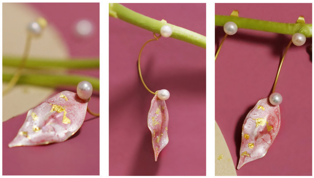 Hand-Painted Pink & Gold Peach Leaf C Shape Stud Earrings (Quick to ship) - AHED Project