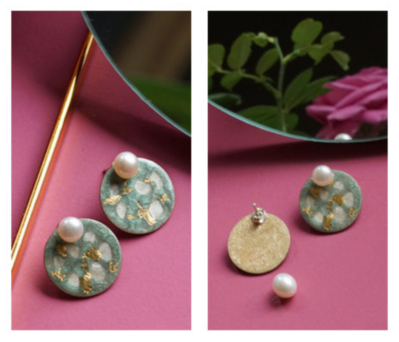 Painted Layering Tea Green & Inlaid Gold Pearl Stud Earrings - AHED Project