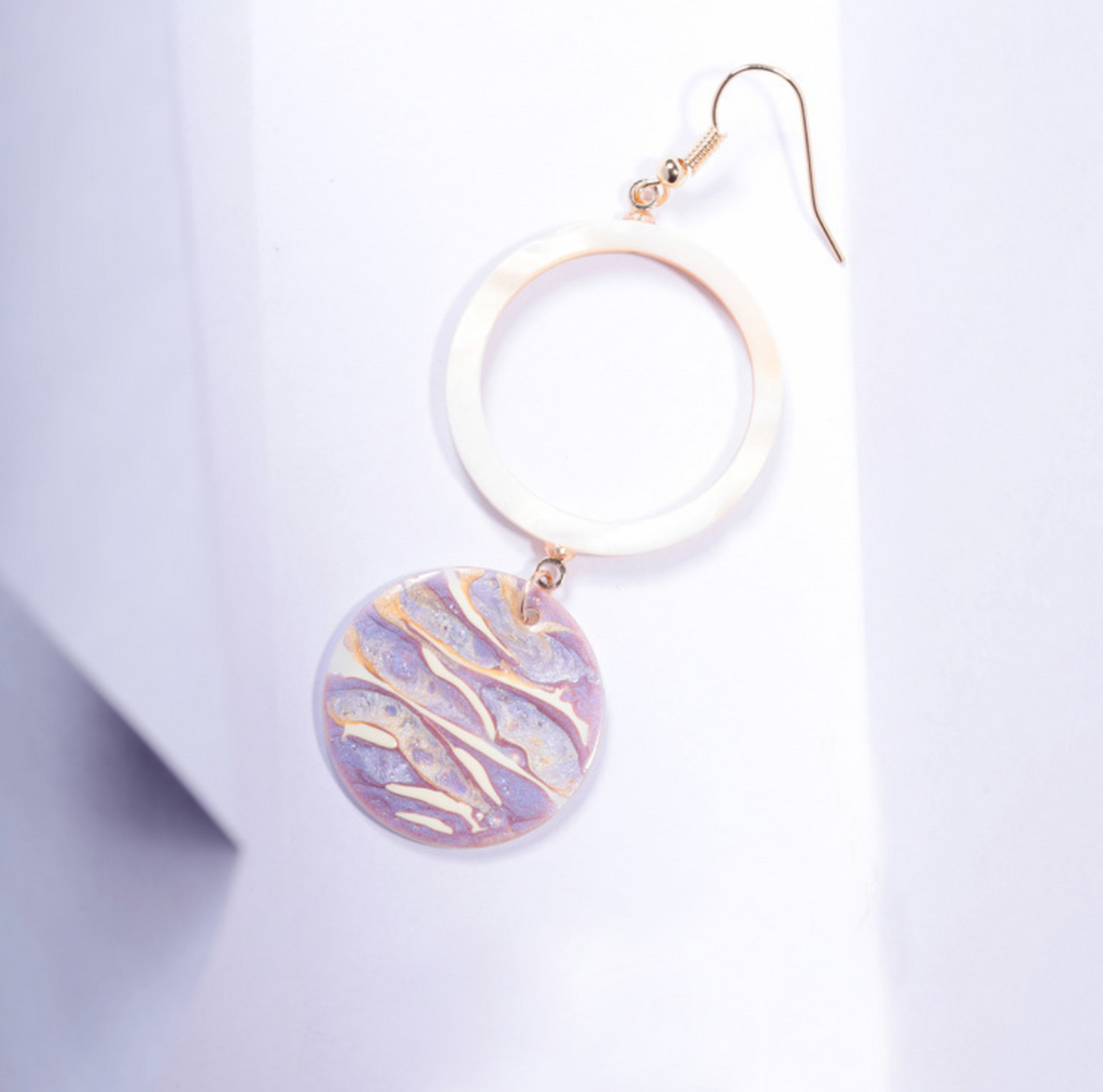 Light of Waves Series - Glistening Paint Over Shell Hoop Drop Earrings - AHED Project