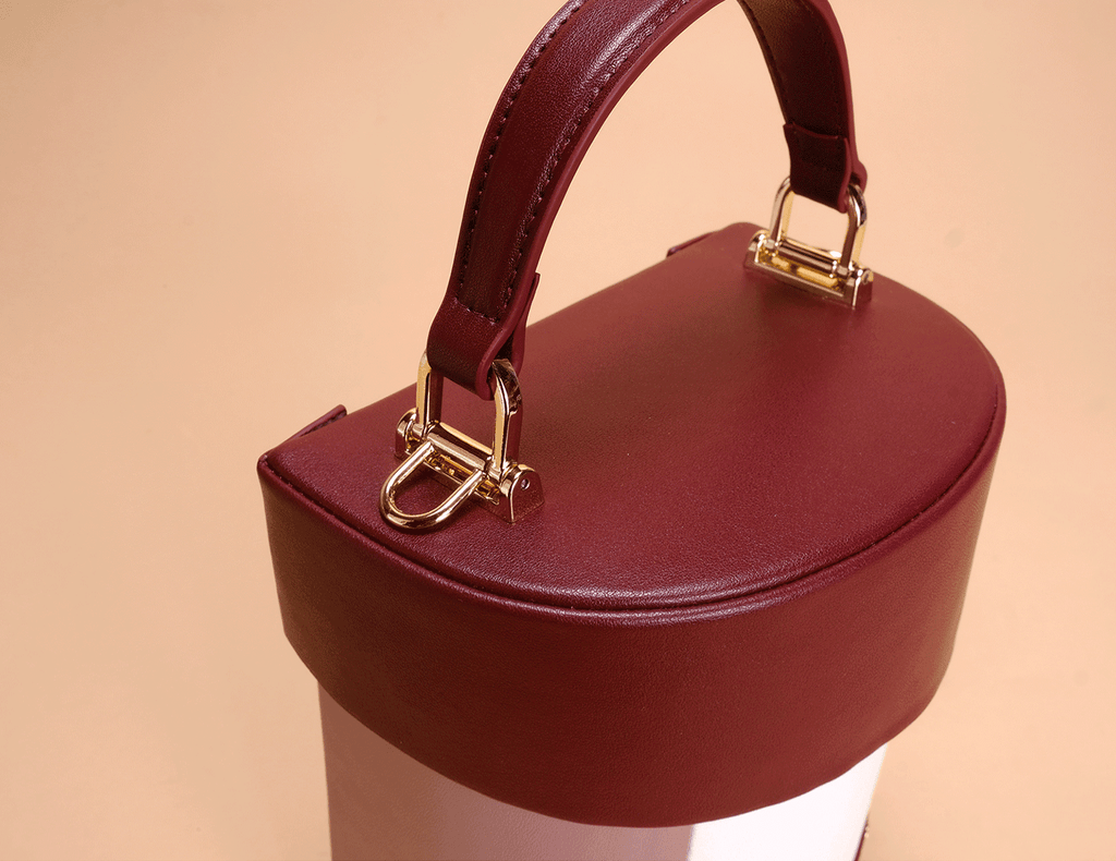 Color Blocks Vintage Style Leather Bucket Bag - Wine Red