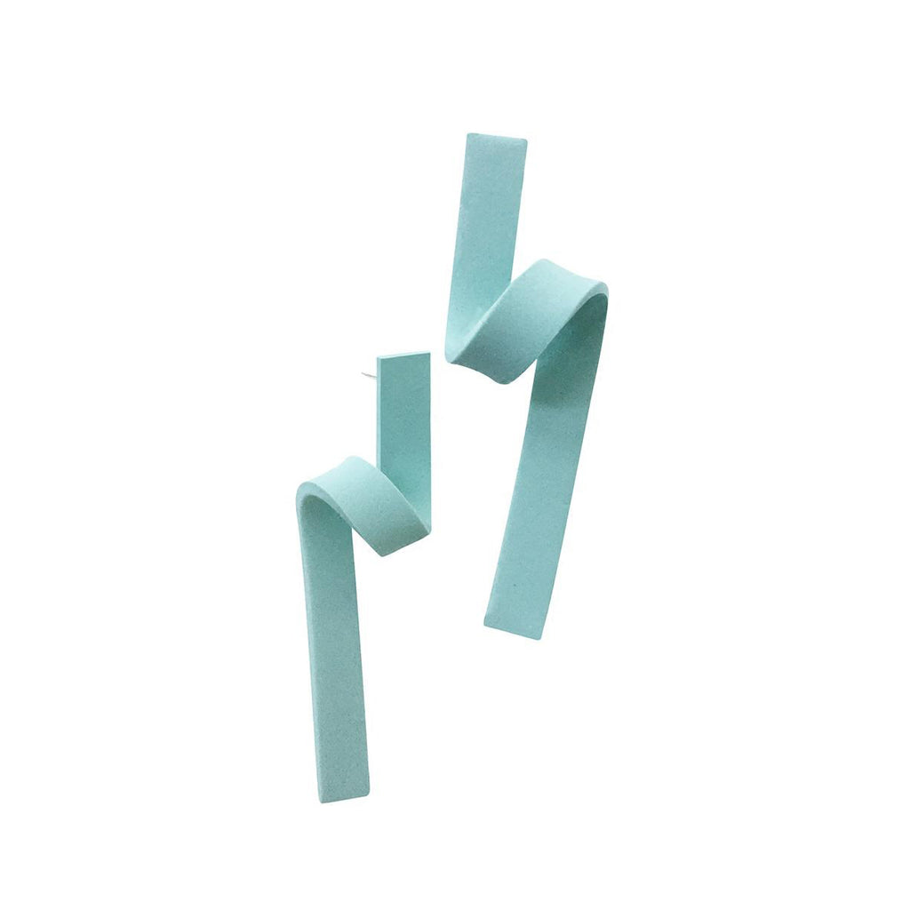 Minimalist Twisted Clay Stud Earrings - Minty Green