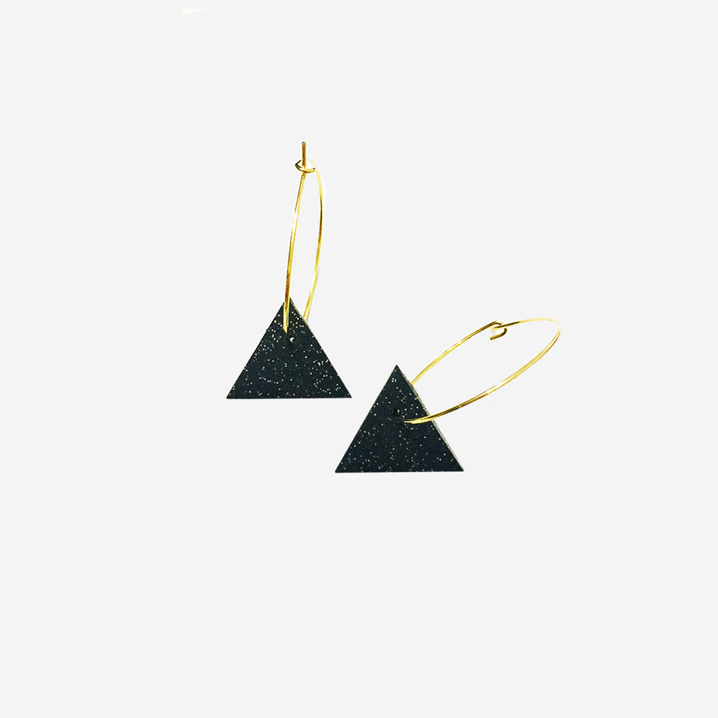 Black & Gold Triangle Clay Drop Hoop Earrings - AHED Project