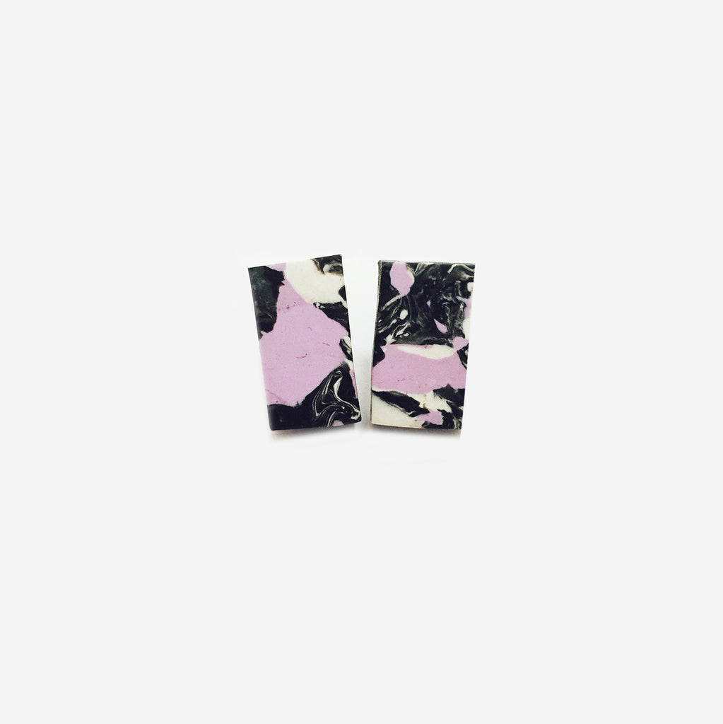 Marbled Blend Clay Rectangular Stud Earrings (Quick to ship) - AHED Project