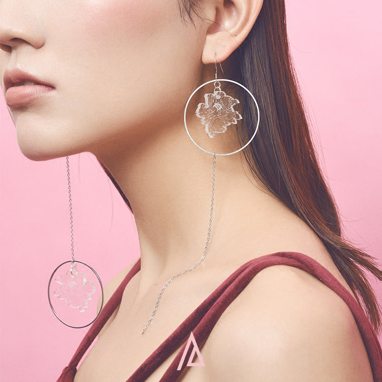 Asymmetrical Peony Drawing Drop Earrings - AHED Project