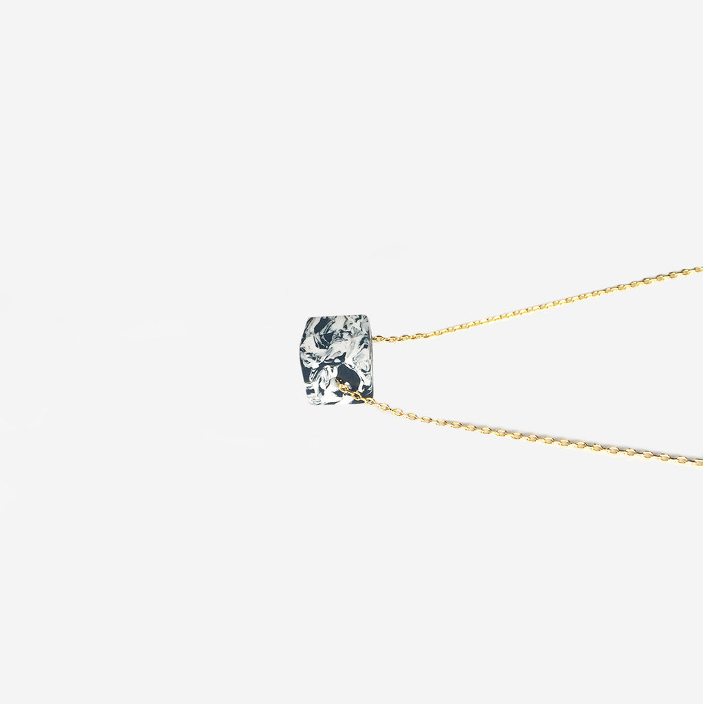 Hand-Cut Clay Cube 18K Gold Plated Dainty Necklace (Pre-order) - AHED Project