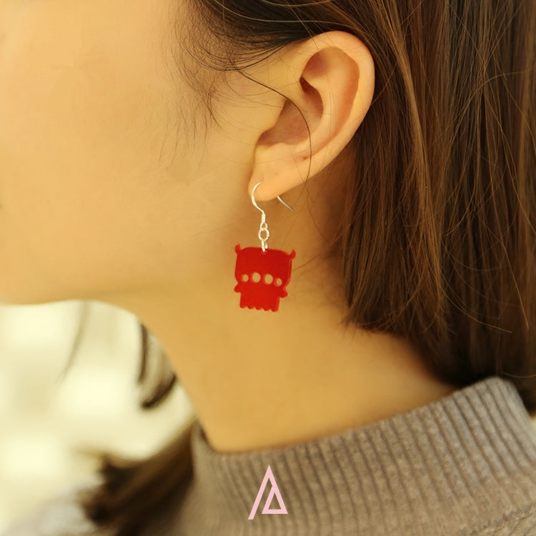 Alien Series - Acrylic Red Aliens Drop Earrings - AHED Project