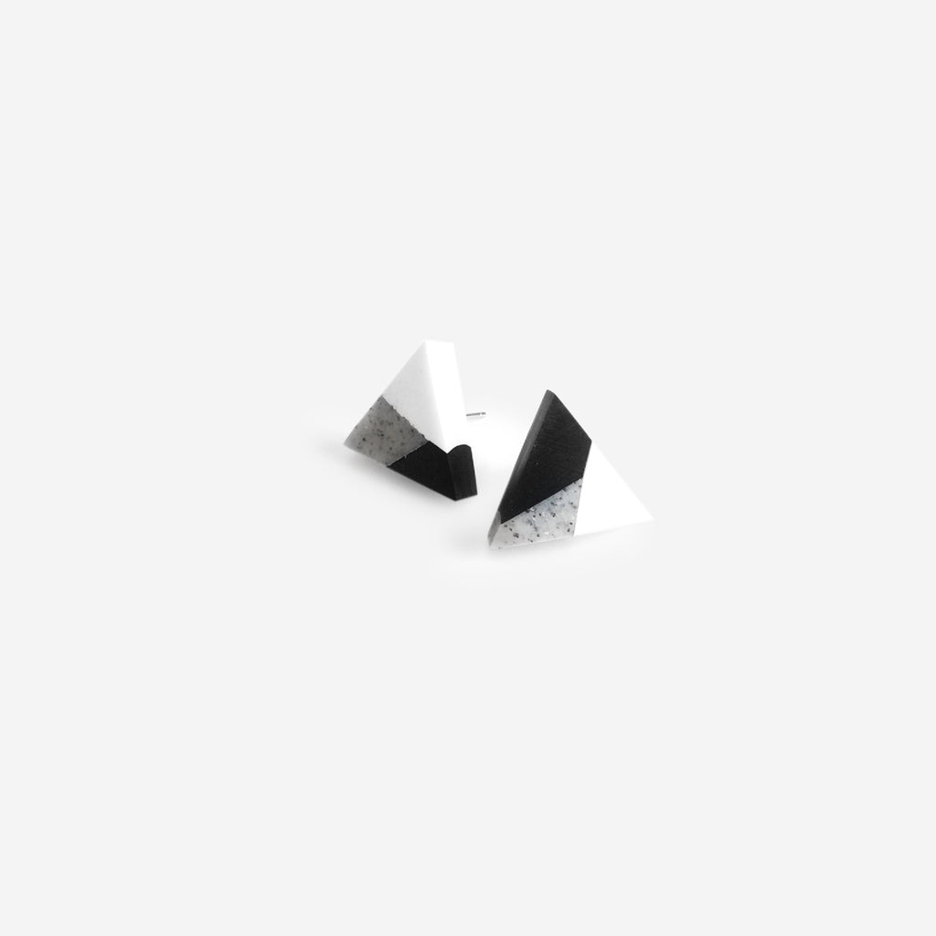 Triangle Clay Stud Earrings - Sesame Cake (Quick to ship)