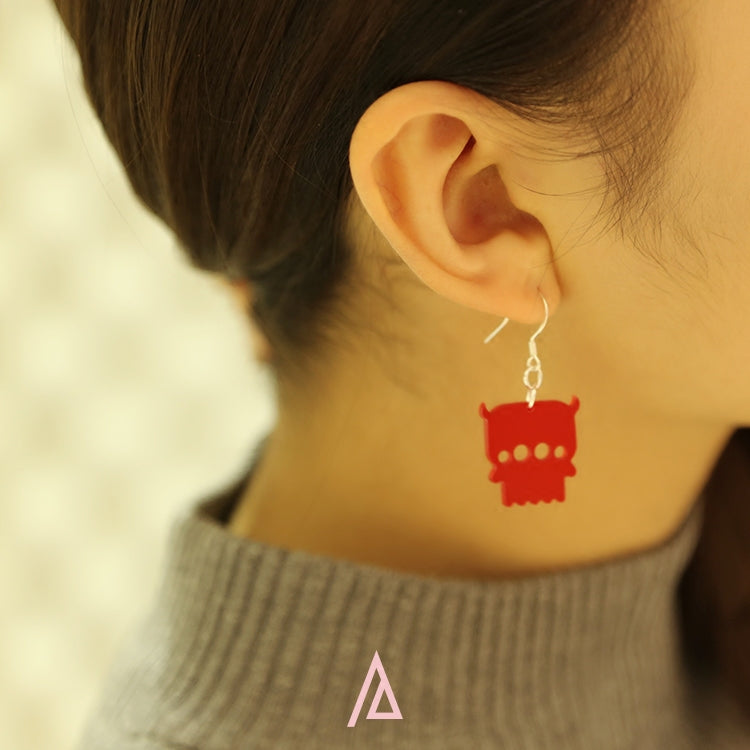 Alien Series - Acrylic Red Aliens Drop Earrings