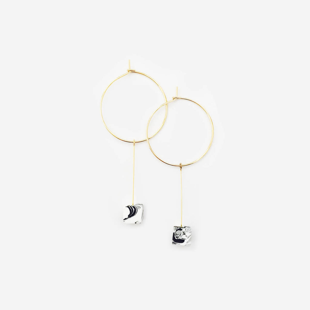 Marble Sugar Cube Drop Hoop Earrings - AHED Project