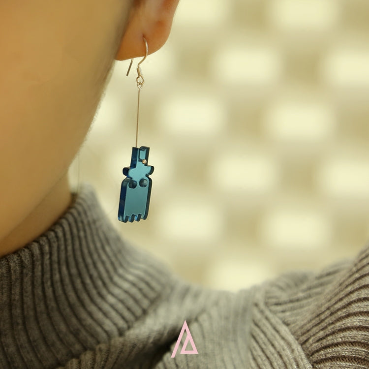 Alien Series - Acrylic Blue Aliens Drop Earrings